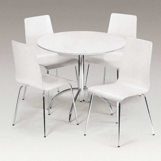 Mandy Round White Dining Set And 4 Chairs