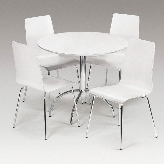 White Dining Room Table And Chairs: Candy Dining Set Round In Round White With 4 Chairs 5470