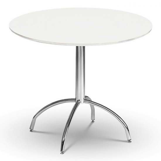 Mandy Round Wooden Dining Table In White Lacquer