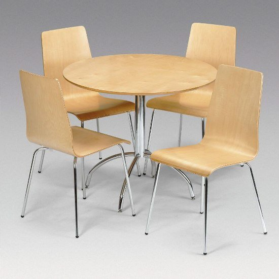 Read more about Mandy dining set with 4 chairs in maple and chrome