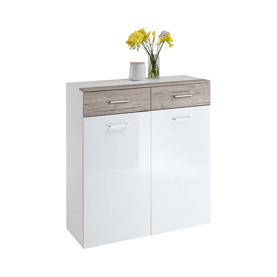 Read more about Mandy storage cabinet in white high gloss and sand oak