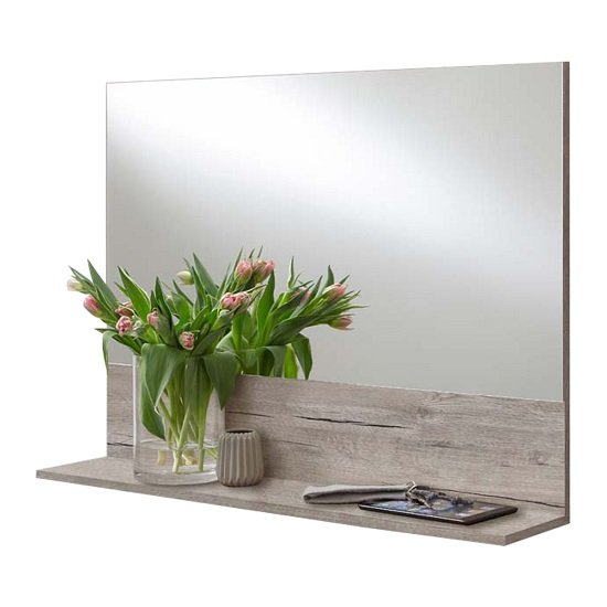 Mandy Contemporary Wall Mirror In Sand Oak With Shelf