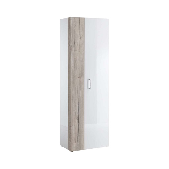 Read more about Mandy hallway wardrobe in white high gloss and sand oak