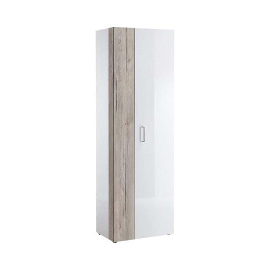 Mandy Hallway Wardrobe In White High Gloss And Sand Oak