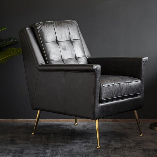Manero Faux Leather Armchair In Black
