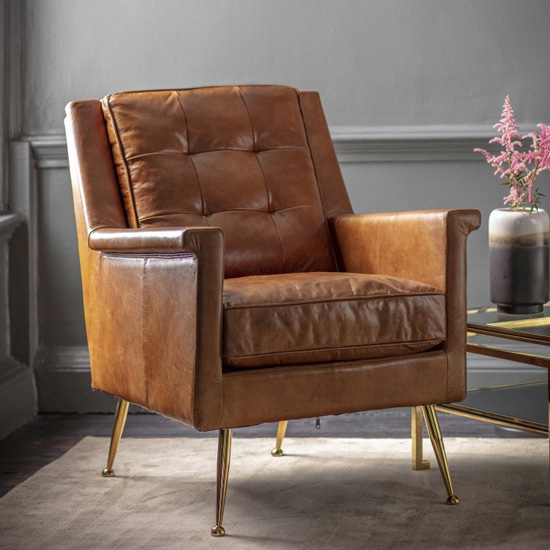 Manero Faux Leather Armchair In Brown_1