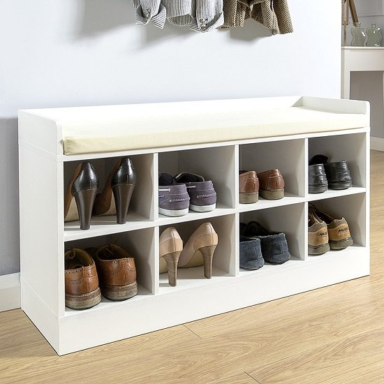 Manford Shoe Bench In White With Eight Open Compartments_1