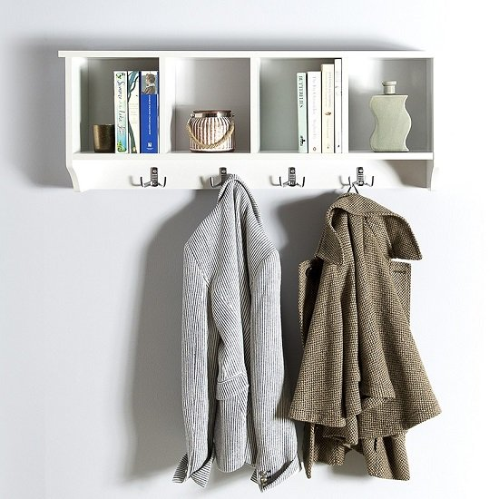Manford Wall Rack In White With Four Storage Compartments_1