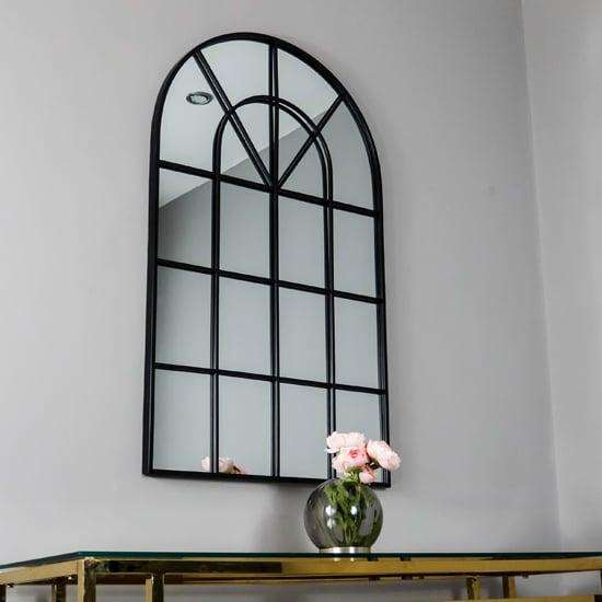 View Manhattan arched window design wall mirror in black frame
