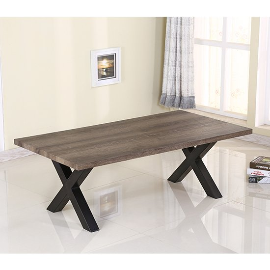 Manhattan Coffee Table In Natural with Black Metal Legs