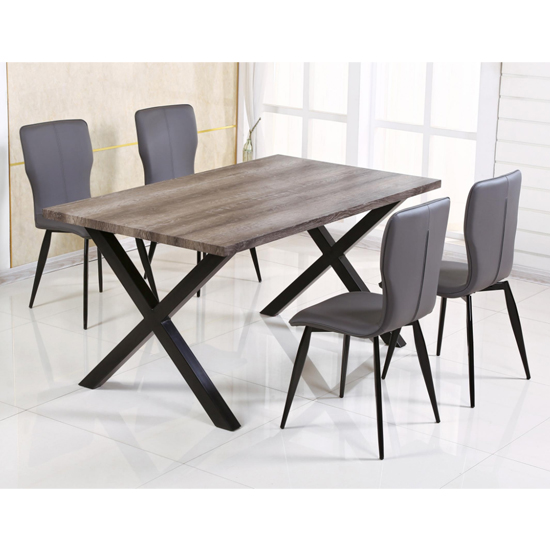 Manhattan Dining Set In Natural With 6 Chairs