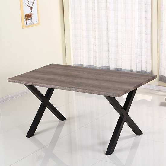 Manhattan Dining Table In Natural with Black Metal Legs