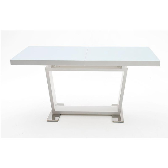 Manhattan Extending Glass Top Dining Table In White High Gloss