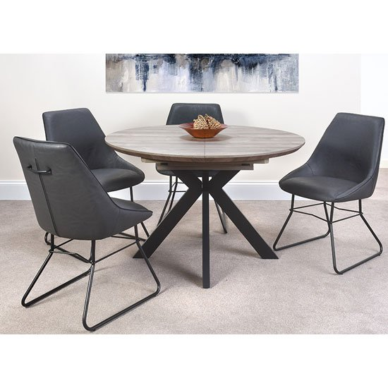 Manhattan Extending Round Dining Set With 4 Grey Cooper Chairs