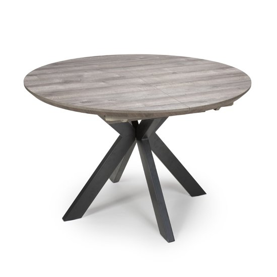 Manhattan Extending Round Wooden Dining Table In Grey