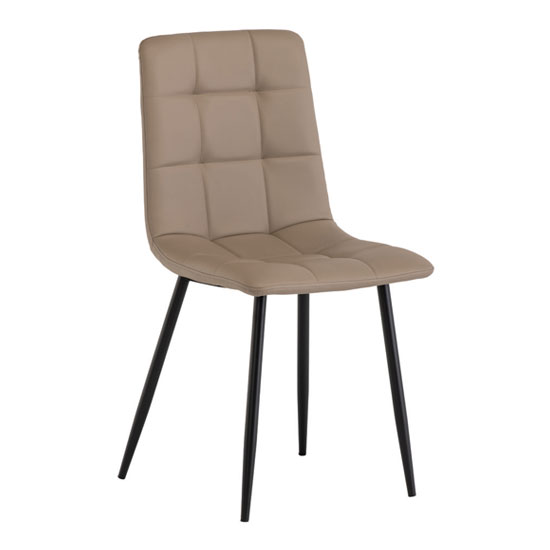 Manhattan Leather Dining Chair In Taupe