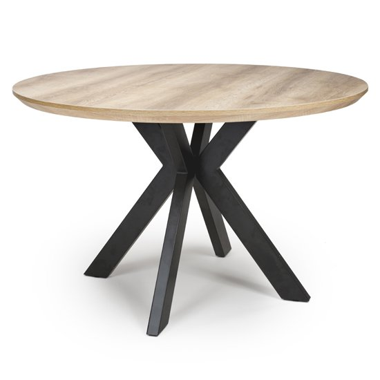 Manhome Round Dining Table In Oak