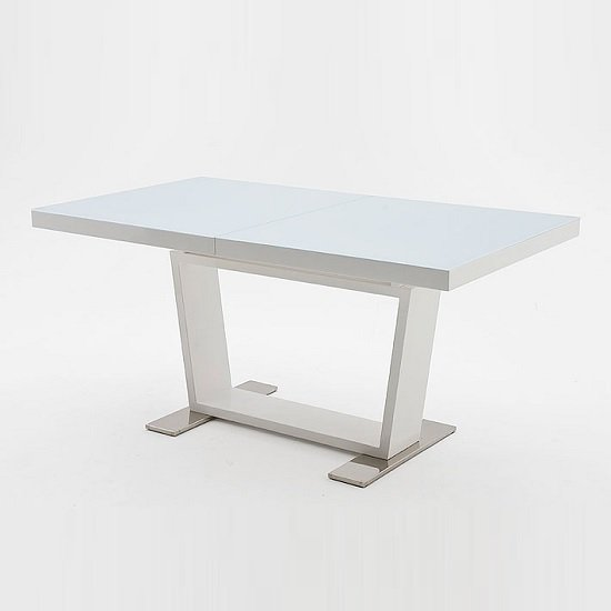 Manhattan Extendable Dining Table With White Glass And Gloss