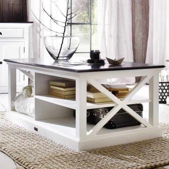 Allthorp Solid Wood Coffee Table Rectangular In White And