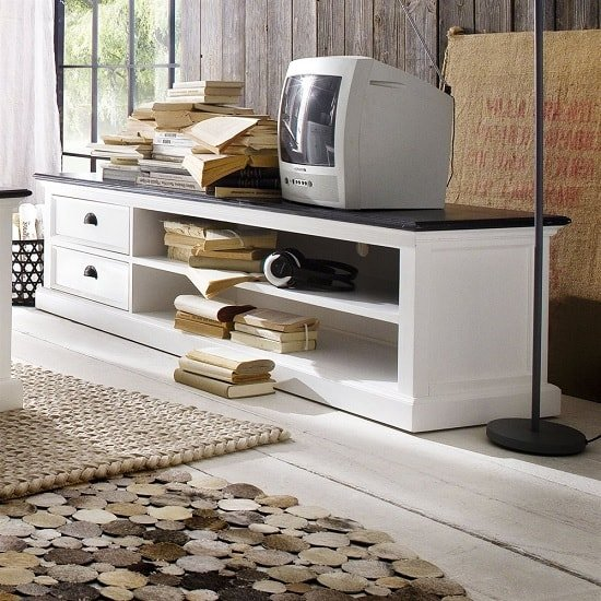 Allthorp Solid Wood TV Stand Large In White And Black Top_2