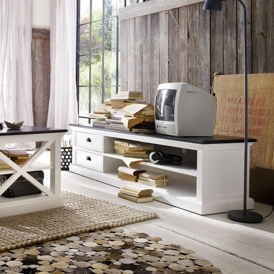 Allthorp Solid Wood TV Stand Large In White And Black Top_1