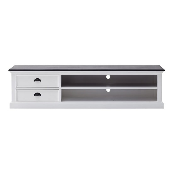 Allthorp Solid Wood TV Stand Large In White And Black Top_3