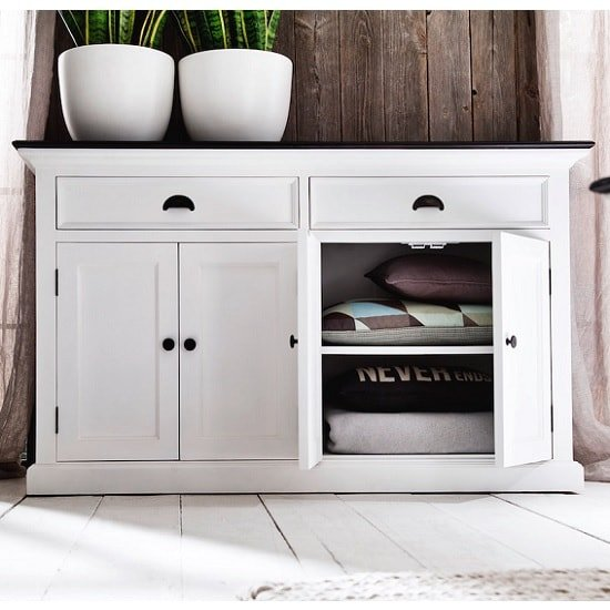 Allthorp Solid Wood Sideboard In White And Black Top With 4 Door