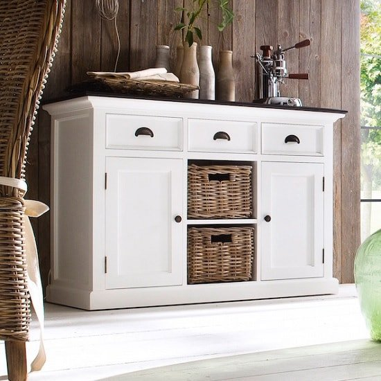 Allthorp Solid Wood Sideboard White And Black Top With Baskets
