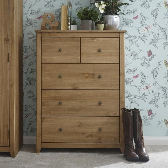 Manila Wooden Chest Of Drawers In Rustic Pine With 5 Drawers