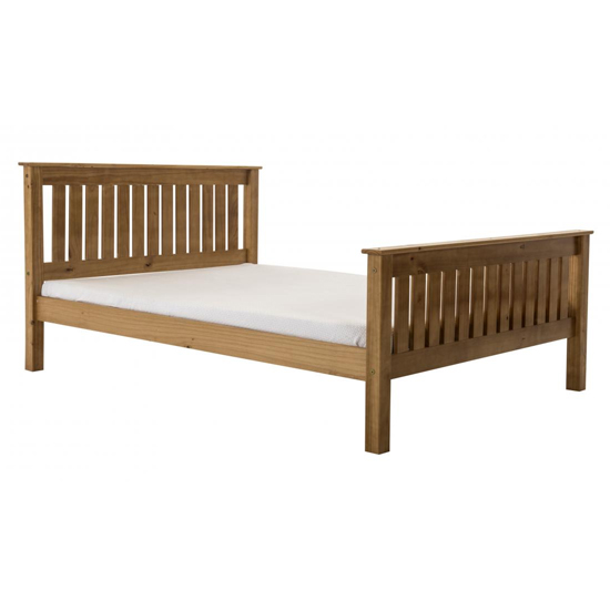 Manila High Footend Pine King Size Bed In Antique
