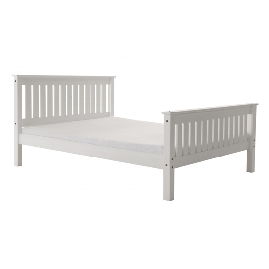 Manila High Footend Pine King Size Bed In White