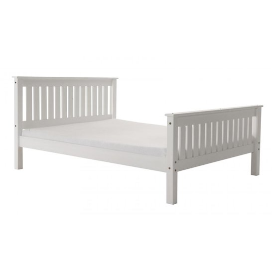 Manila High Footend Pine Single Bed In White