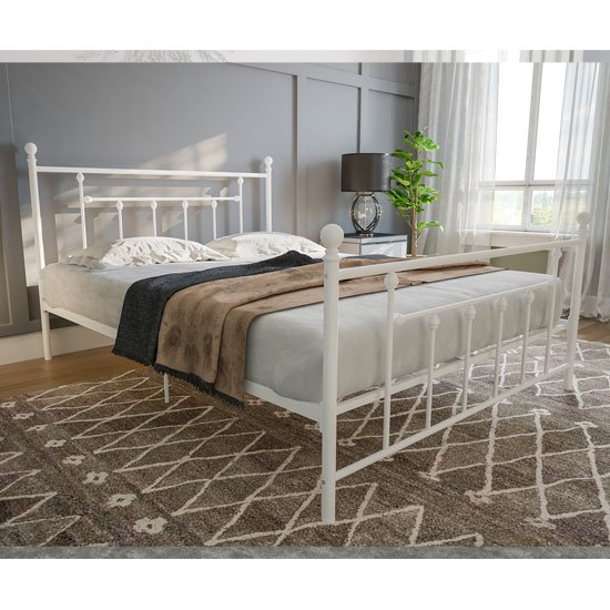 Manila Metal Double Bed In White