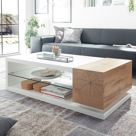 Wooden coffee tables with storage drawers in a rustic farmhouse style for living room