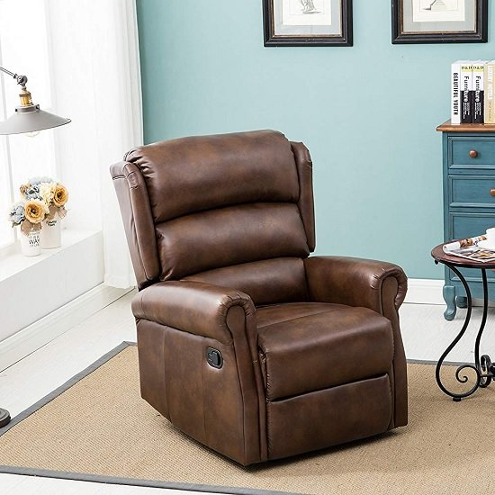 Product photograph showing Manningham Modern Recliner Chair In Brown Faux Leather