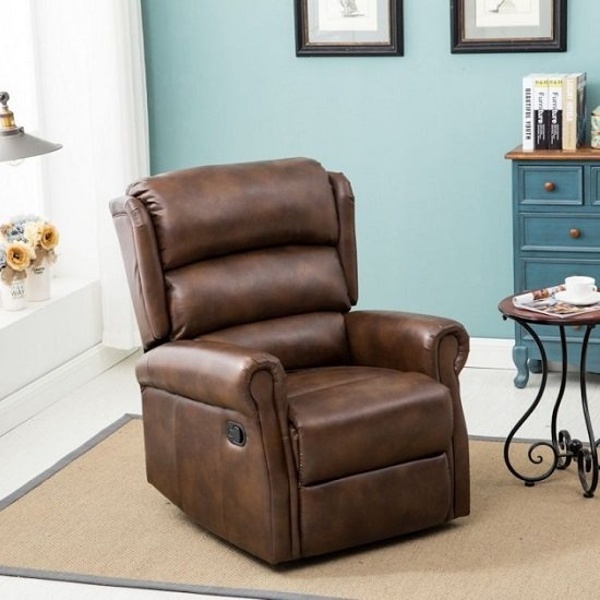 Read more about Manningham modern recliner chair in brown faux leather