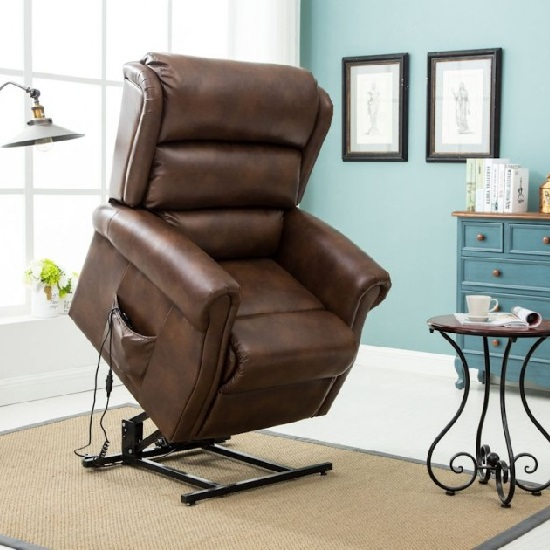 Read more about Manningham rise and recliner chair in brown faux leather