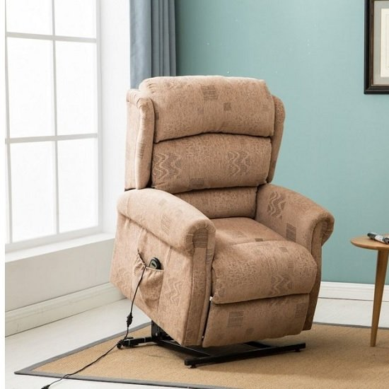 Manningham Modern Rise And Recliner Chair In Wheat Fabric