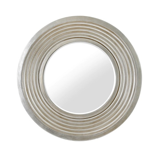 Mantis Wall Mirror Round In Silver Tone With Groove Details