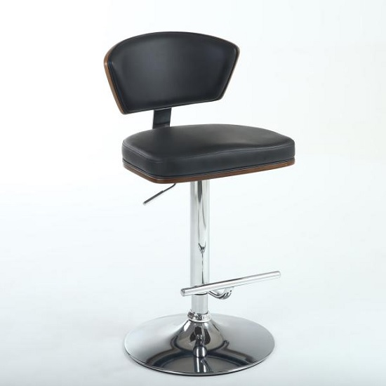 Mantis Bar Stool In Black PU And Walnut With Chrome Base