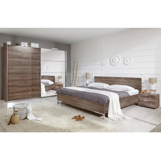 Mantova 180x200cm Wooden Bed In Muddy Oak Effect_2
