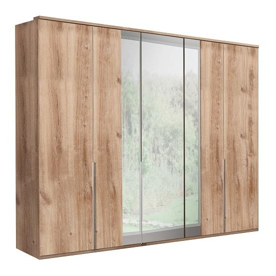 Mantova Mirrored Wooden Wardrobe Large In Planked Oak Effect