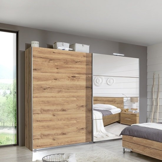 Mantova Mirrored Sliding Wardrobe In Planked Oak Effect