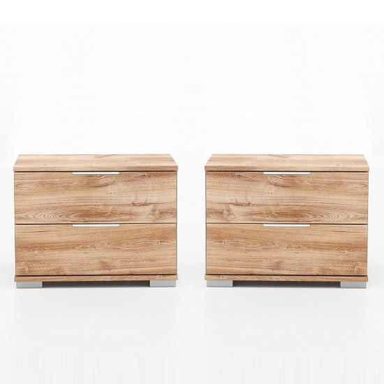 Mantova Wooden Bedside Cabinet In Planked Oak Effect In A Pair_1