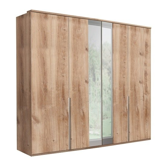 Mantova Mirrored Wooden Wardrobe In Planked Oak Effect
