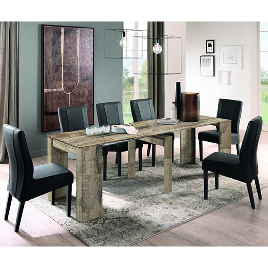 Manvos Extending Pero Wooden Dining Table With 8 Miko Chairs