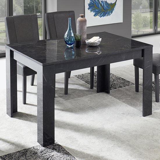 Manvos Wooden Dining Table In Black High Gloss Marble Effect