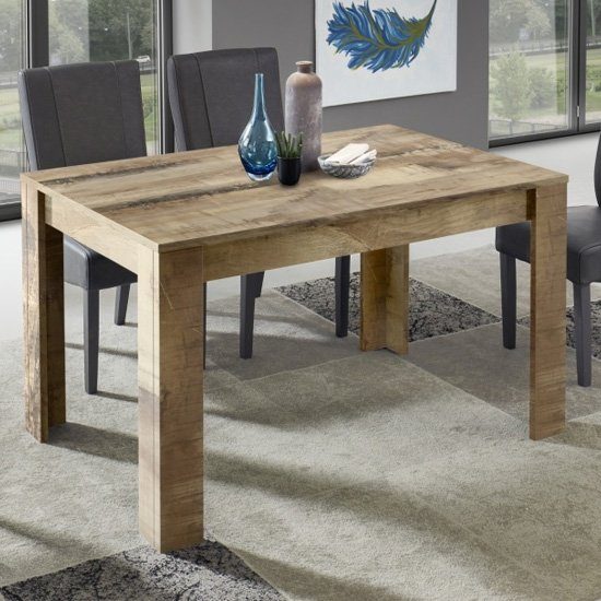 Manvos Wooden Dining Table In Black Oak And Pero