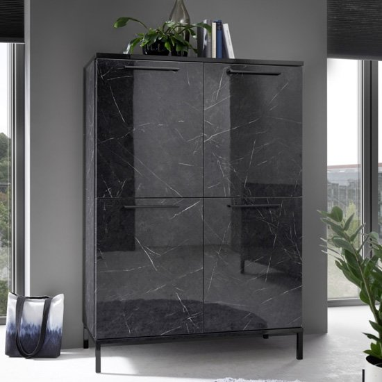 Manvos Wooden Highboard In Black High Gloss Marble Effect