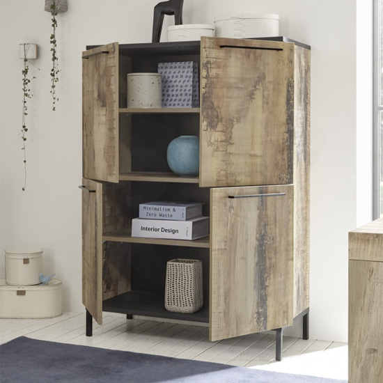 Manvos Wooden Highboard In Black Oak And Pero With 4 Doors_2